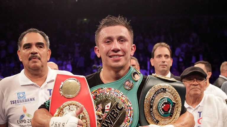 Golovkin celebrates with world titles after win over Brook