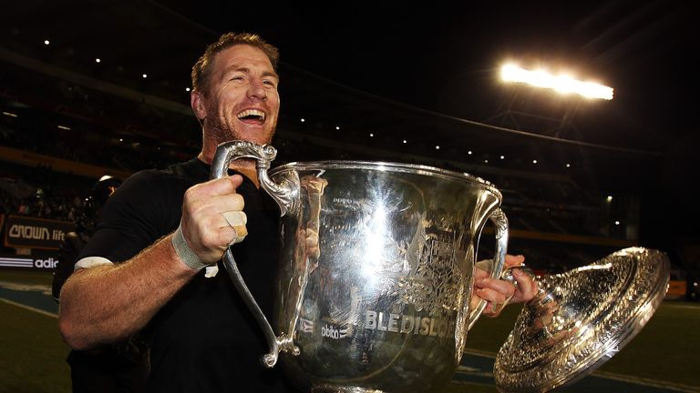 Brad Thorn, pictured holding the Bledisloe Cup in 2010, could make a return to action at the age of 41 this weekend