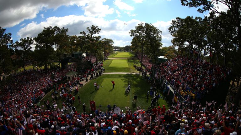 Large crowds packed the fairways of Medinah in 2012