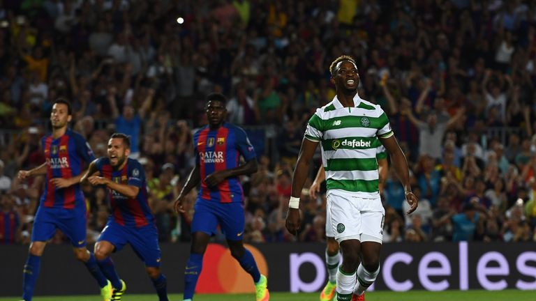 Moussa Dembele reacts after missing a penalty against Barcelona with a poor first-half effort