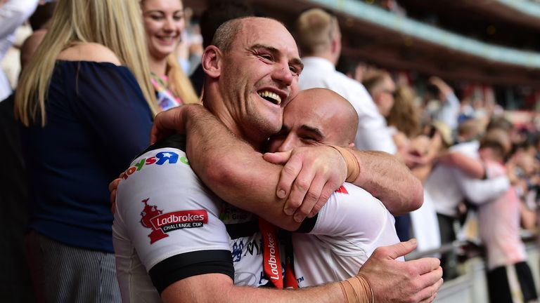 Gareth Ellis and Danny Houghton of Hull FC celebrate after the Challenge Cup final