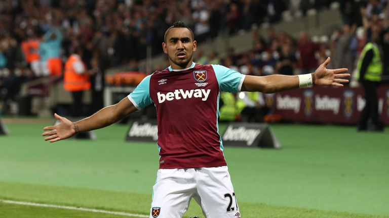 West Ham's Dimitri Payet celebrates after scoring his free-kick against Accrington in midweek