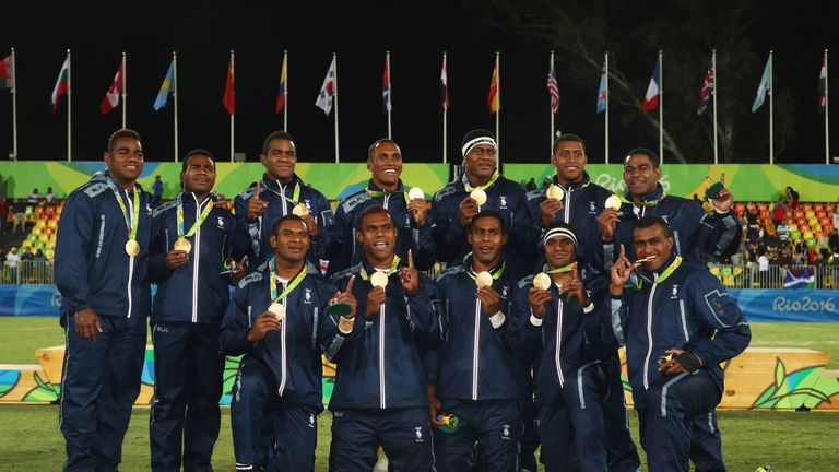 Olympic champions Fiji celebrate in Rio