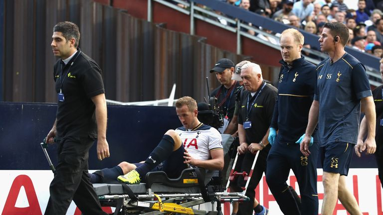 Harry Kane is stretchered off at White Hart Lane last weekend