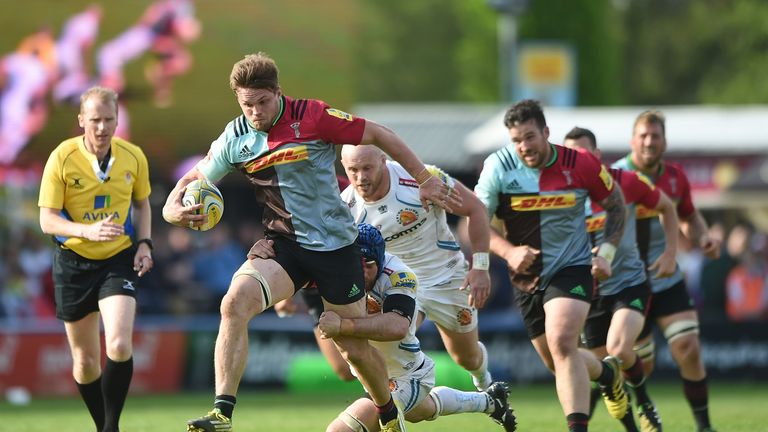 Jack Clifford (holding ball) in action for Harlequins