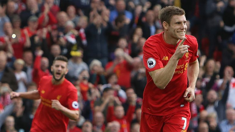 Milner (right) celebrates after scoring from the penalty spot  against Hull