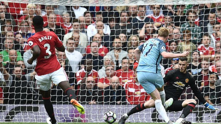 Kevin De Bruyne slots home in Manchester City's 2-1 derby victory