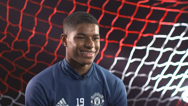 Manchester United forward Marcus Rashford gives his first extended TV interview to Sky Sports' Geoff Shreeves