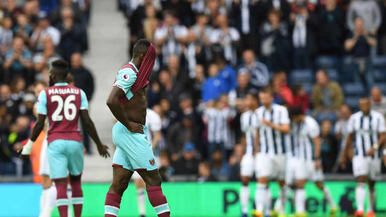 Michail Antonio reacts as West Ham concede one of four goals at West Brom