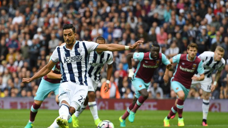 Nacer Chadli was involved in all four goals as West Brom defeated West Ham, scoring two of them