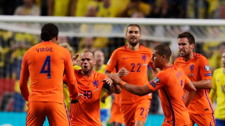 Wesley Sneijder of Netherlands celebrates his equaliser in Sweden