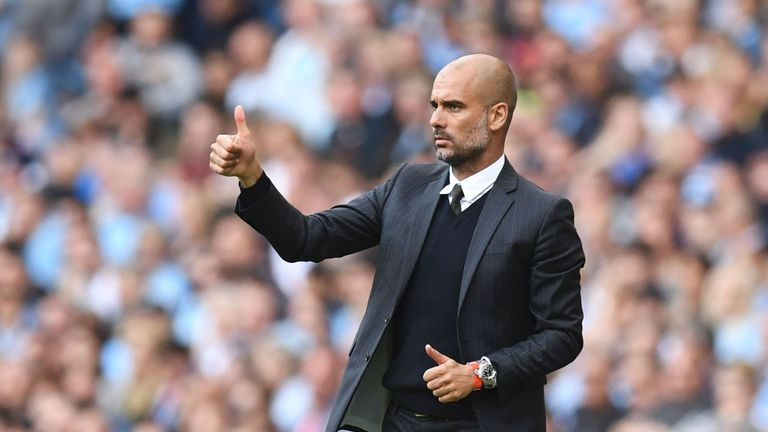 Manchester City's Spanish manager Pep Guardiola is looking for his 10th win in a row since taking charge of the club