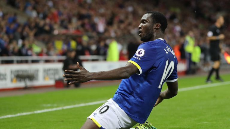 Everton's Romelu Lukaku celebrates scoring his third goal during the Premier League match against Sunderland