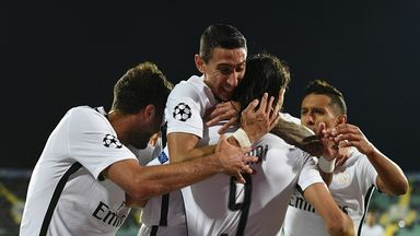 Edinson Cavani got off the mark in Europe against Ludogorets