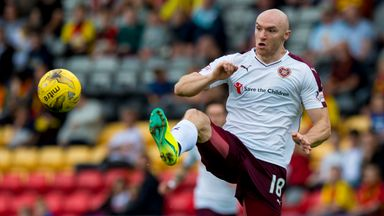 Conor Sammon pictured in action for Hearts earlier this season