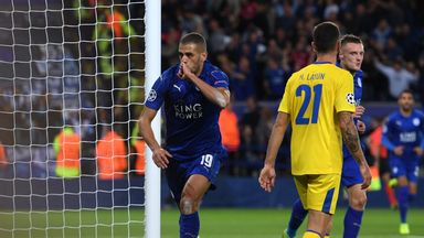 Islam Slimani celebrates after scoring for Leicester