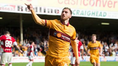 Louis Moult celebrates his fourth goal of the game for Motherwell
