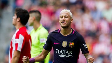 Neymar scored twice during the 5-0 victory over Sporting Gijon on Saturday