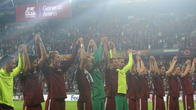Sparta Prague players celebrate victory over Inter Milan