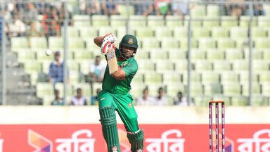 Tamim Iqbal batting for Bangladesh against Afghanistan in the one-day international series.