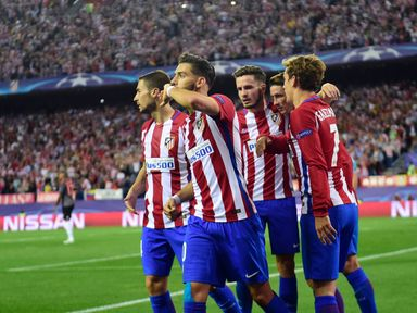 Atletico Madrid midfielder Yannick Ferreira Carrasco (2ndL) celebrates with team-mates