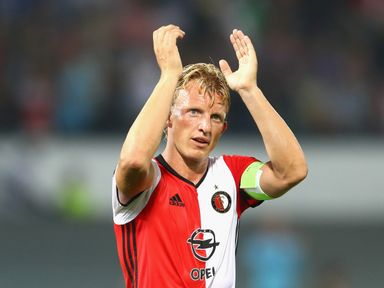Dirk Kuyt of Feyenoord applauds the home fans