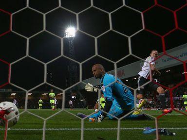 Lasse Vibe of Brentford scores
