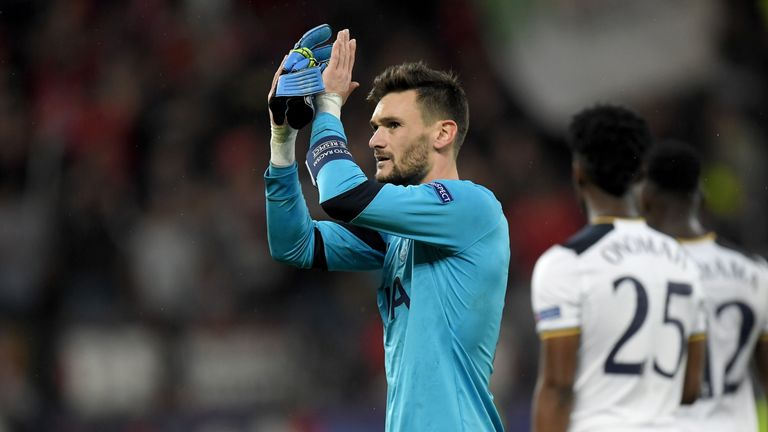 Hugo Lloris applauds Spurs fans after the 0-0 draw at Bayer Leverkusen