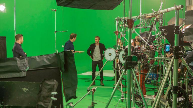 David Beckham on set for filming for the app