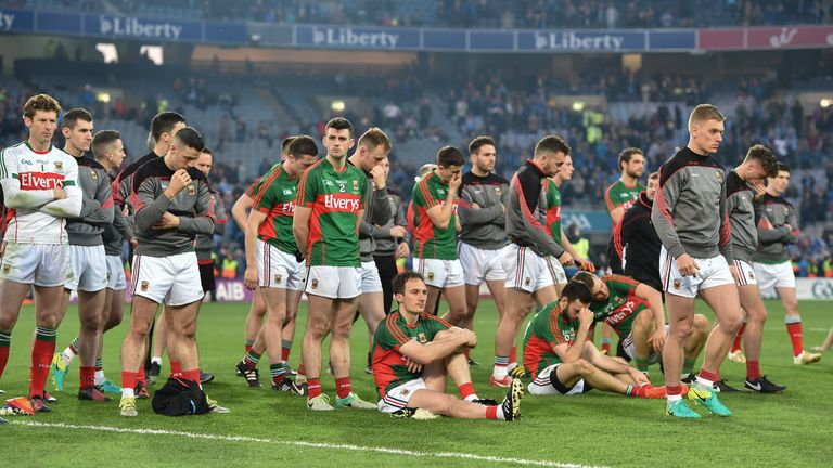 The dejected Mayo squad after the GAA Football All-Ireland Senior Championship Final Replay