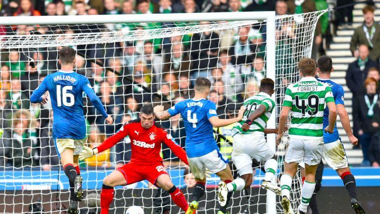 Moussa Dembele scores a late goal in the Scottish League Cup semi-final at Hampden