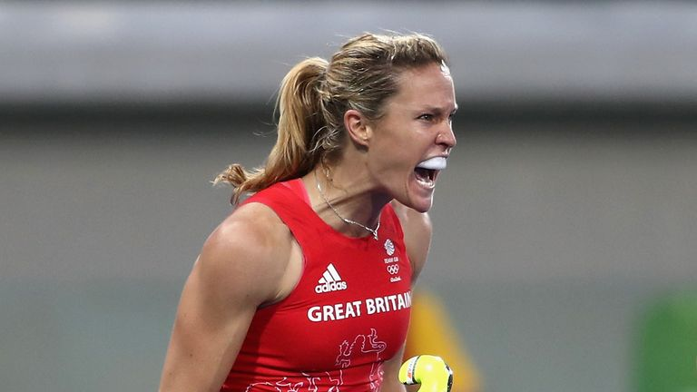 Crista Cullen celebrates GB's second goal against Netherlands on Day 14 of the Rio Games