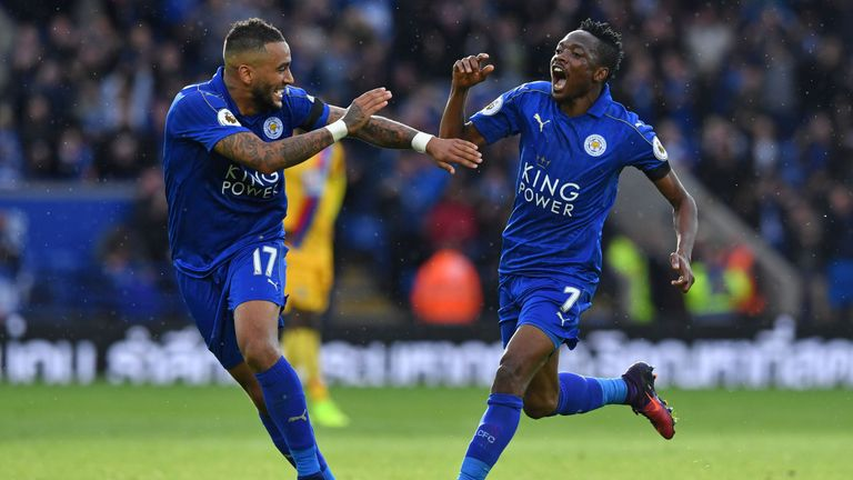 Leicester City's Ahmed Musa (right) arrived form CSKA Moscow in the summer