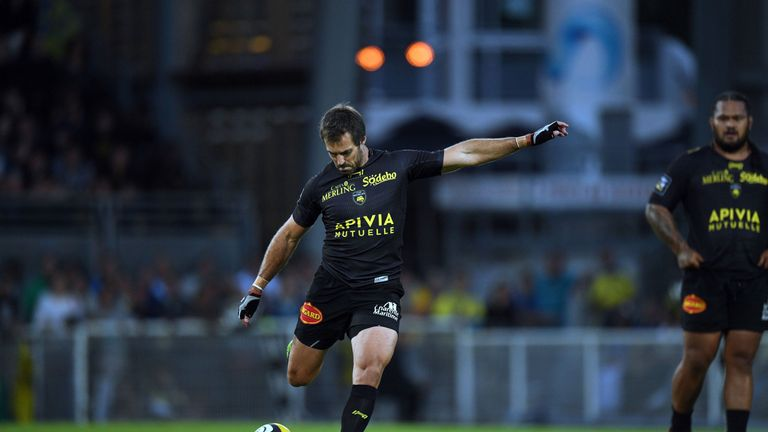 La Rochelle's fly-half Brock James kicks the ball during the French Top 14 Rugby Union match between La Rochelle and Clermont on August 20 2016