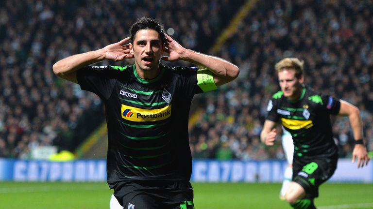 Lars Stindl celebrates after scoring the opening goal at Celtic Park