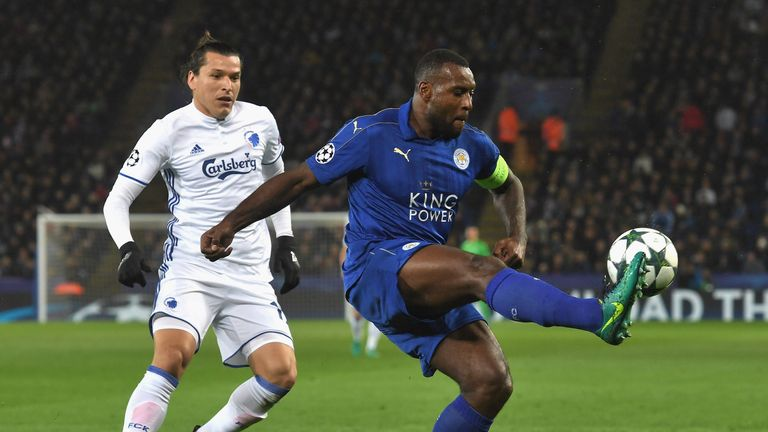 Leicester City captain Wes Morgan (right) helped his side keep another Champions League clean sheet against FC Copenhagen