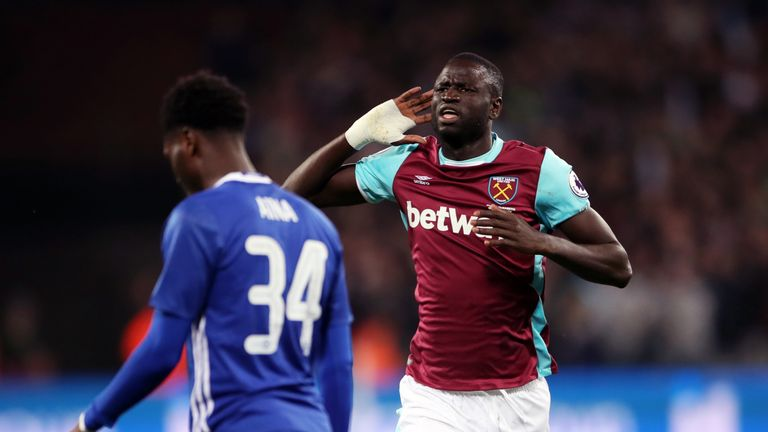 West Ham's Cheikhou Kouyate celebrates scoring the opener