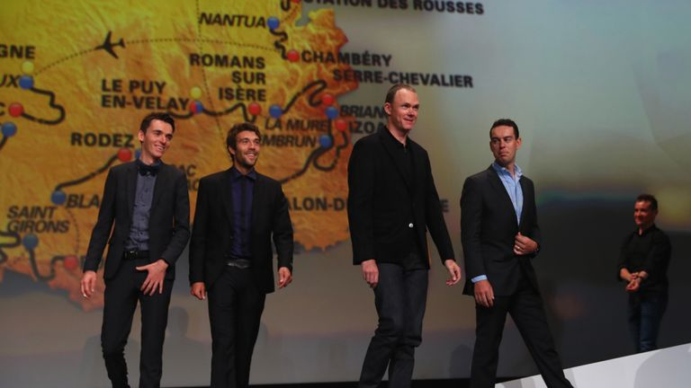 Froome (second right) at the Tour de France 2017 route presentation