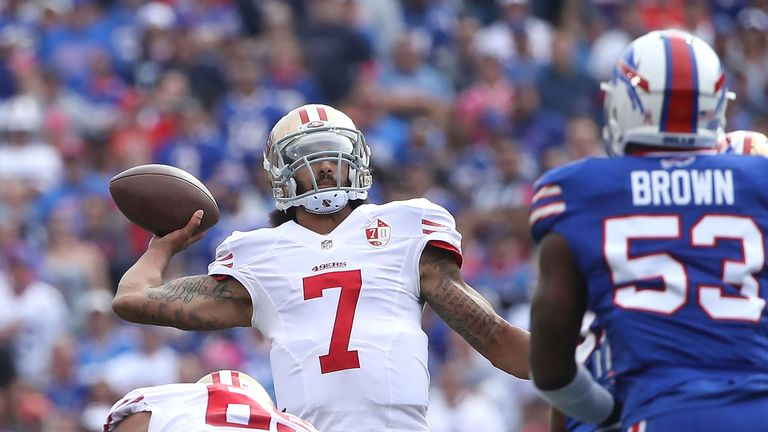 Colin Kaepernick looks for a pass during the first-half against the Buffalo Bills