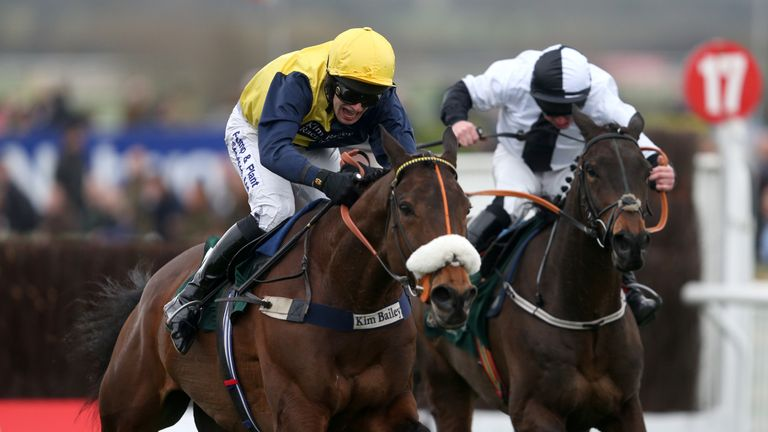 Rawnaq (right) finishes third at the 2015 Cheltenham Festival behind Darna.