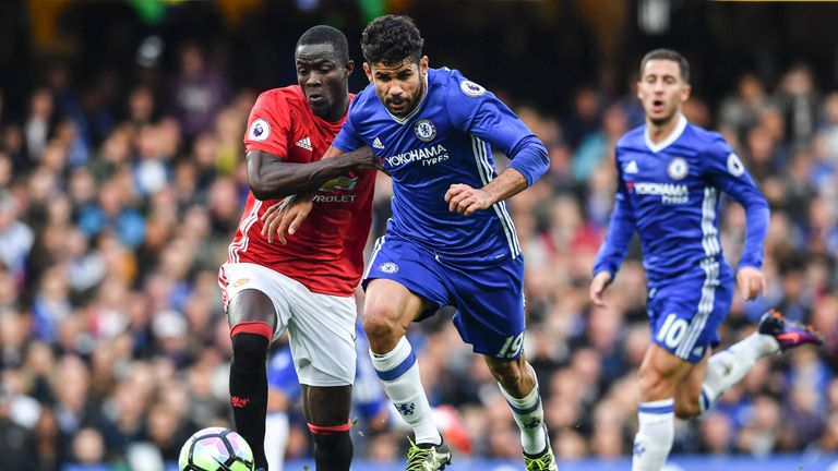 Manchester United's Eric Bailly in action with Chelsea striker Diego Costa