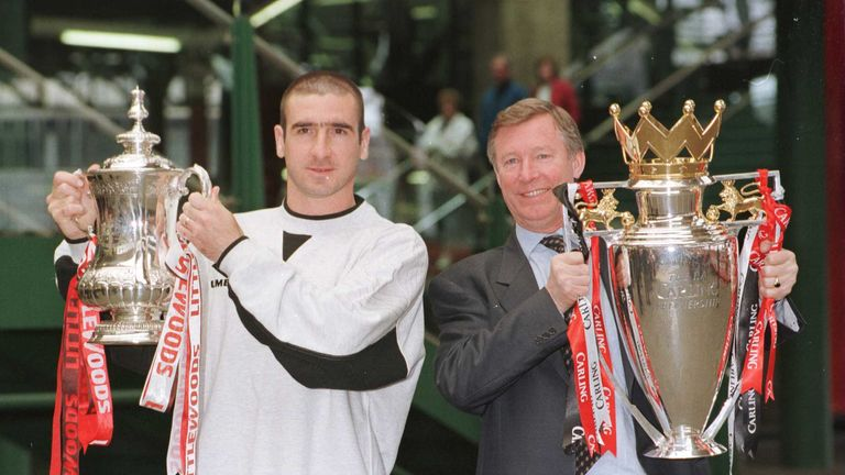 Cantona won four Premier League titles and two FA Cups under Sir Alex Ferguson at Manchester United