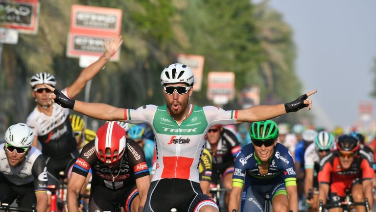 Giacomo Nizzolo sprinted to victory on the opening stage