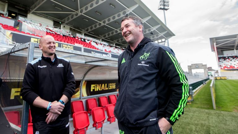 Glasgow Warriors' head coach Gregor Townsend with Munster head coach Anthony Foley.