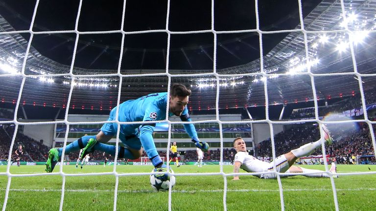 Lloris made a brilliant point-blank range save to deny Javier Hernandez