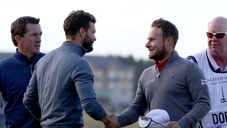 Hatton and actor Jamie Dornan are second in the pro-am event