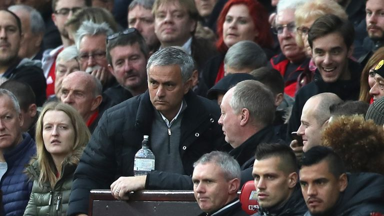 Mourinho is sent to the stands to watch the second half of the clash with Burnley