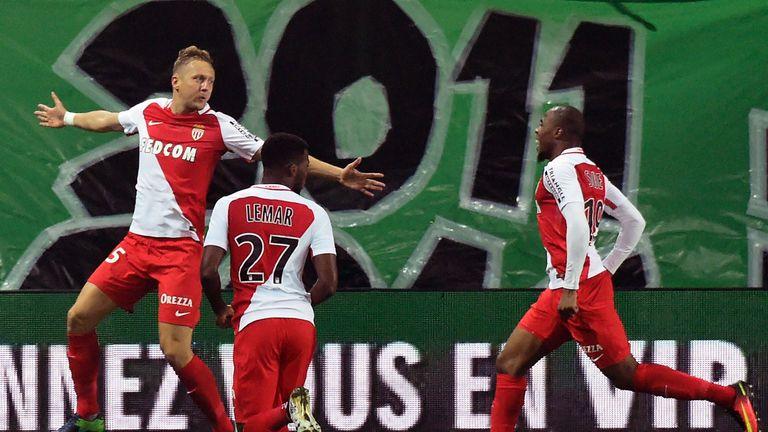 Kamil Glik (L) celebrates scoring for Monaco