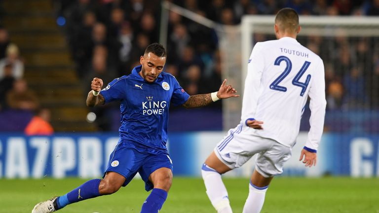 Danny Simpson of Leicester plays a pass during the Champions League