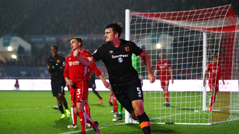 Harry Maguire scored the opener in the EFL Cup win at Bristol City